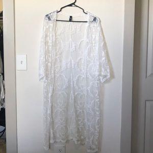 White 3/4 sleeve sheer cover up